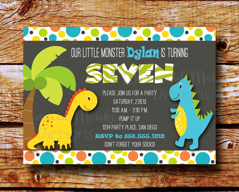 Free Printable Dinosaur Birthday Invitations Awesome Dinosaur Invitation Birthday Party by Mermaidmonkeydesigns