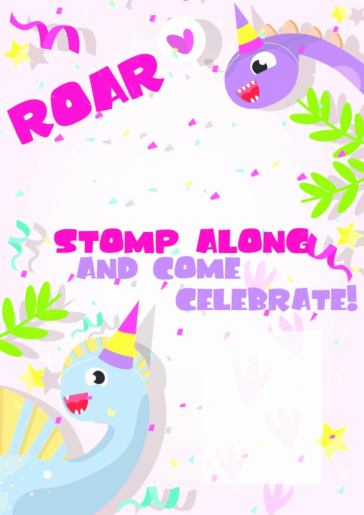 Free Printable Dinosaur Birthday Invitations Best Of Dinosaur Birthday Invitations Free Printable Party with Unicorns