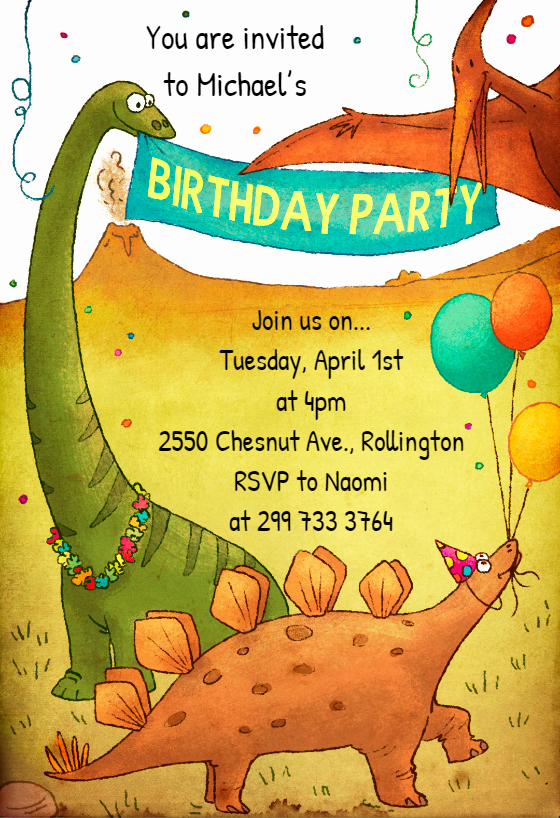 Free Printable Dinosaur Birthday Invitations Inspirational Dinosaur Birthday Invitation Template Free