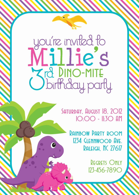 Free Printable Dinosaur Birthday Invitations Inspirational Dinosaur Birthday Party Invitation Girl Diy Printable