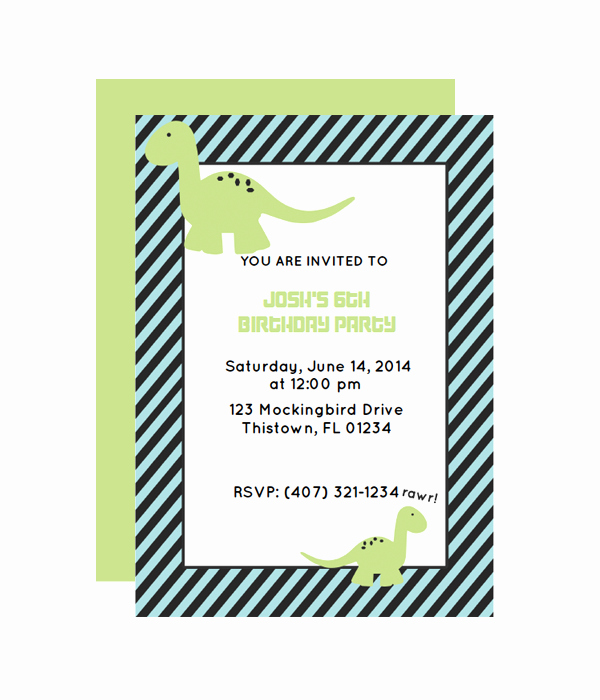 Free Printable Dinosaur Birthday Invitations Inspirational Dinosaur Party Invitation Chicfetti