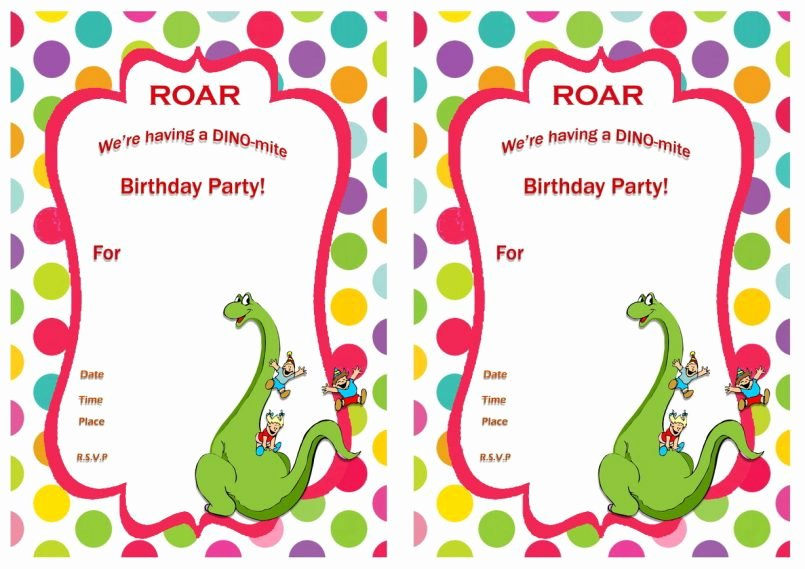 Free Printable Dinosaur Birthday Invitations Unique Template Printable Dinosaur Birthday Invitations Walmart with – Best Party Ideas
