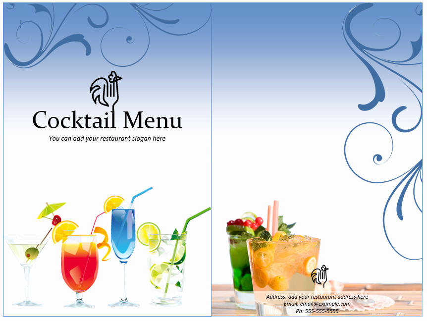 Free Printable Drink Menu Template Awesome Cocktail Menu Template Word Templates