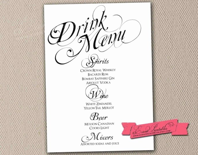 Free Printable Drink Menu Template Fresh Printable Drink Menu Card Diy Wedding Reception by eventprintables