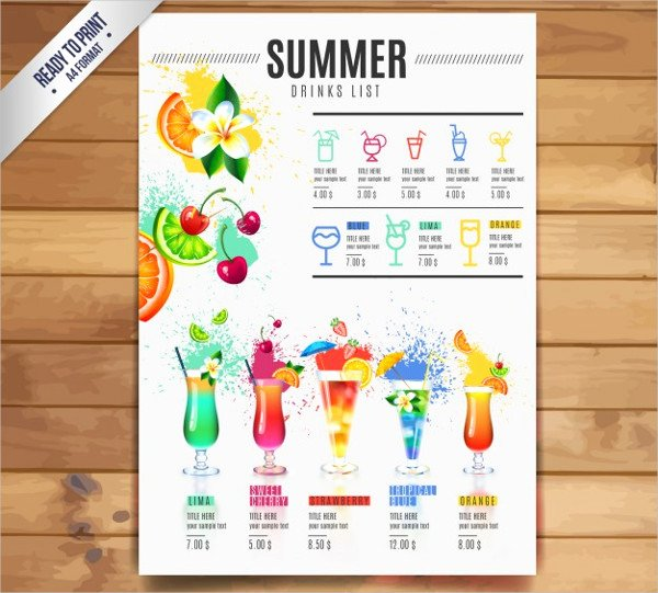 Free Printable Drink Menu Template Inspirational 21 Cocktail Menu Templates Free & Premium Download