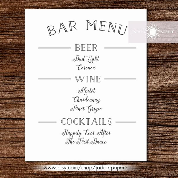 Free Printable Drink Menu Template Luxury Bar Menu Liquor Menu Cocktail Menu Wedding Bar Menu Printable Bar Menu Wedding Bar Menu