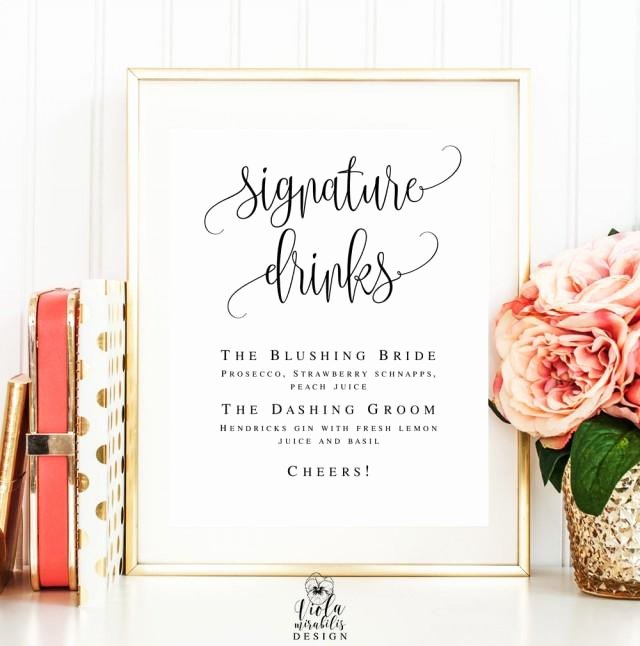 Free Printable Drink Menu Template Luxury Signature Cocktail Sign Editable Template Wedding Sign Bar Menu Template Signature Drink Sign
