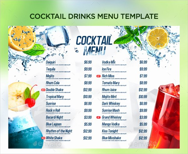 Free Printable Drink Menu Template New 21 Cocktail Menu Templates Free & Premium Download