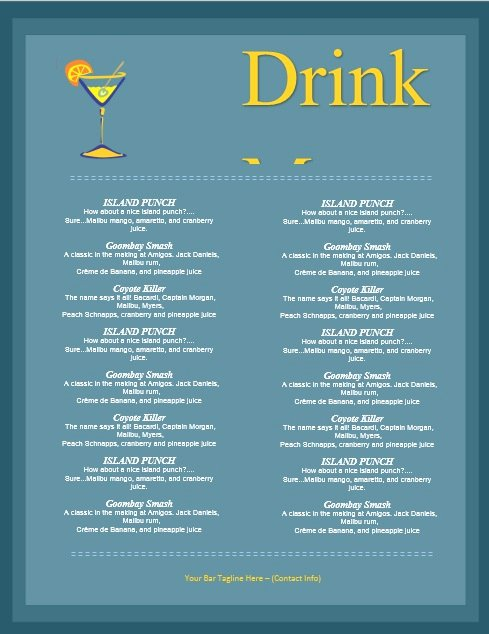 Free Printable Drink Menu Template Unique 5 Free Sample Bar Menu Templates Printable Samples