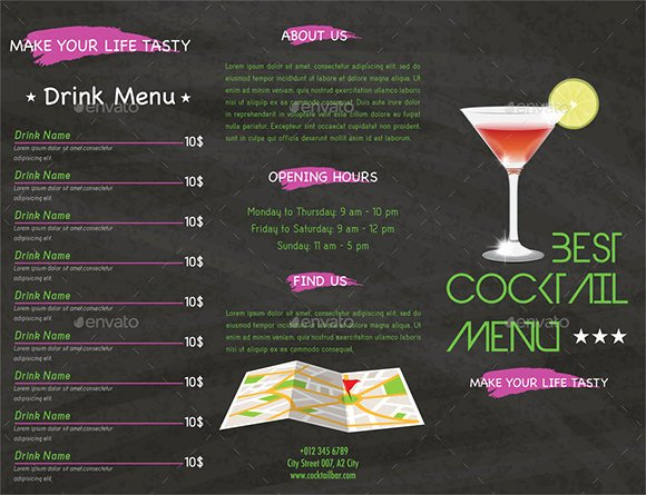 Free Printable Drink Menu Template Unique Cocktail Menu Templates – 54 Free Psd Eps Documents Download