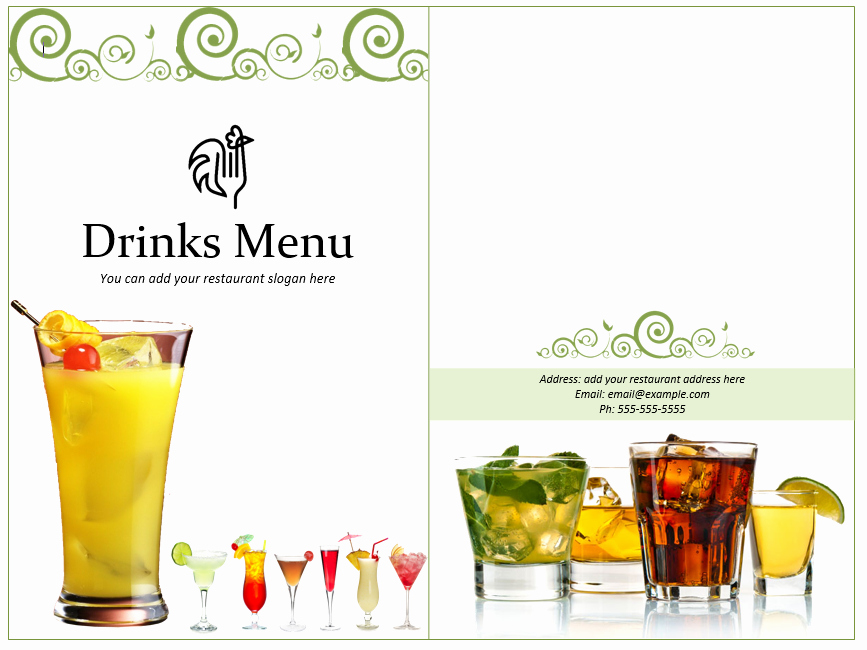 Free Printable Drink Menu Template Unique Drinks Menu Template Word Templates