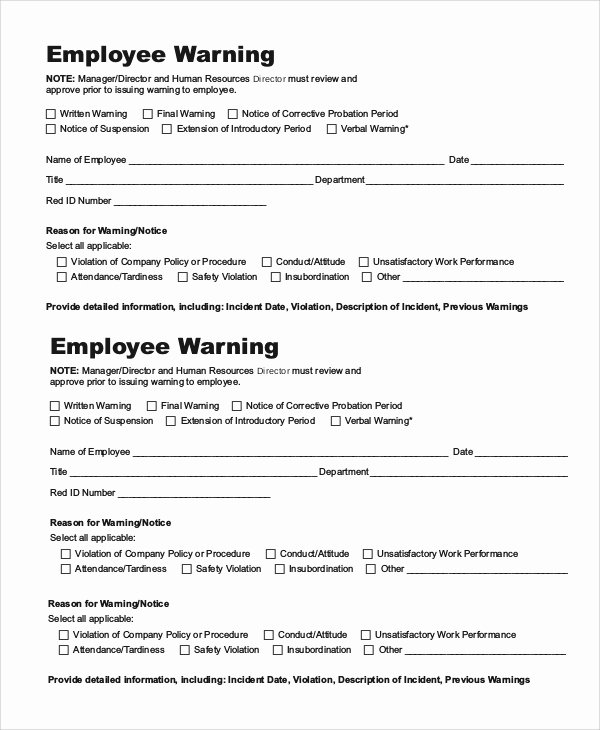 Free Printable Employee Warning Notice Best Of 10 Employee Warning Notice Samples Google Docs Ms Word Apple Pages
