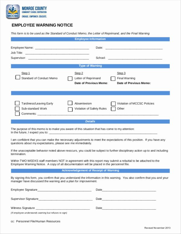 Free Printable Employee Warning Notice Best Of Free 13 Employee Warning Notice Samples & Templates In Docs Google Docs Ms Word
