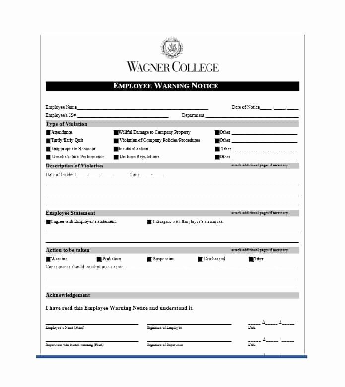 Free Printable Employee Warning Notice Inspirational Employee Warning Notice Download 56 Free Templates & forms