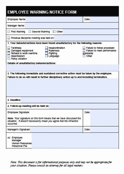Free Printable Employee Warning Notice Lovely Download Employee Write Up forms