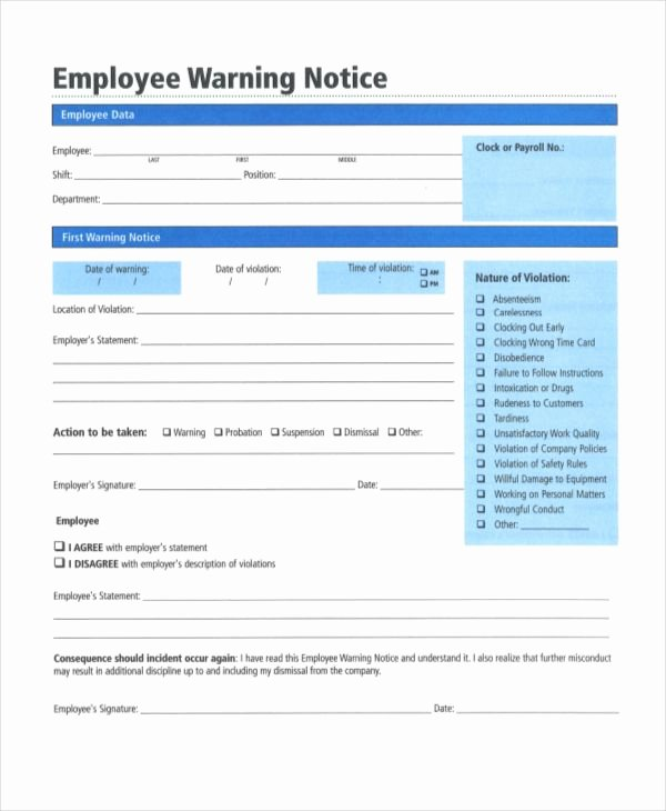 Free Printable Employee Warning Notice Unique Employee Warning Notice form