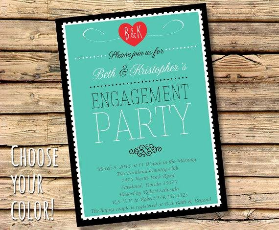 Free Printable Engagement Party Invitations Beautiful Items Similar to Printable Engagement Party Invitation Modern Style Custom Colors Available