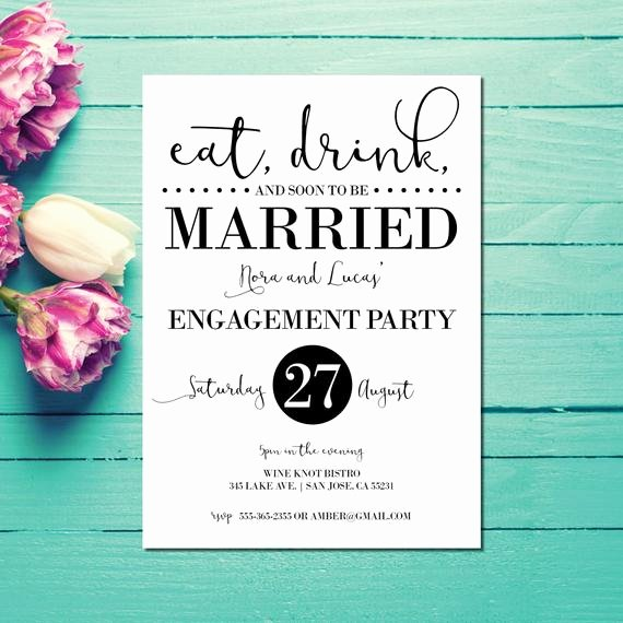Free Printable Engagement Party Invitations Fresh Engagement Invitations Engagement Party Invite Eat Drink