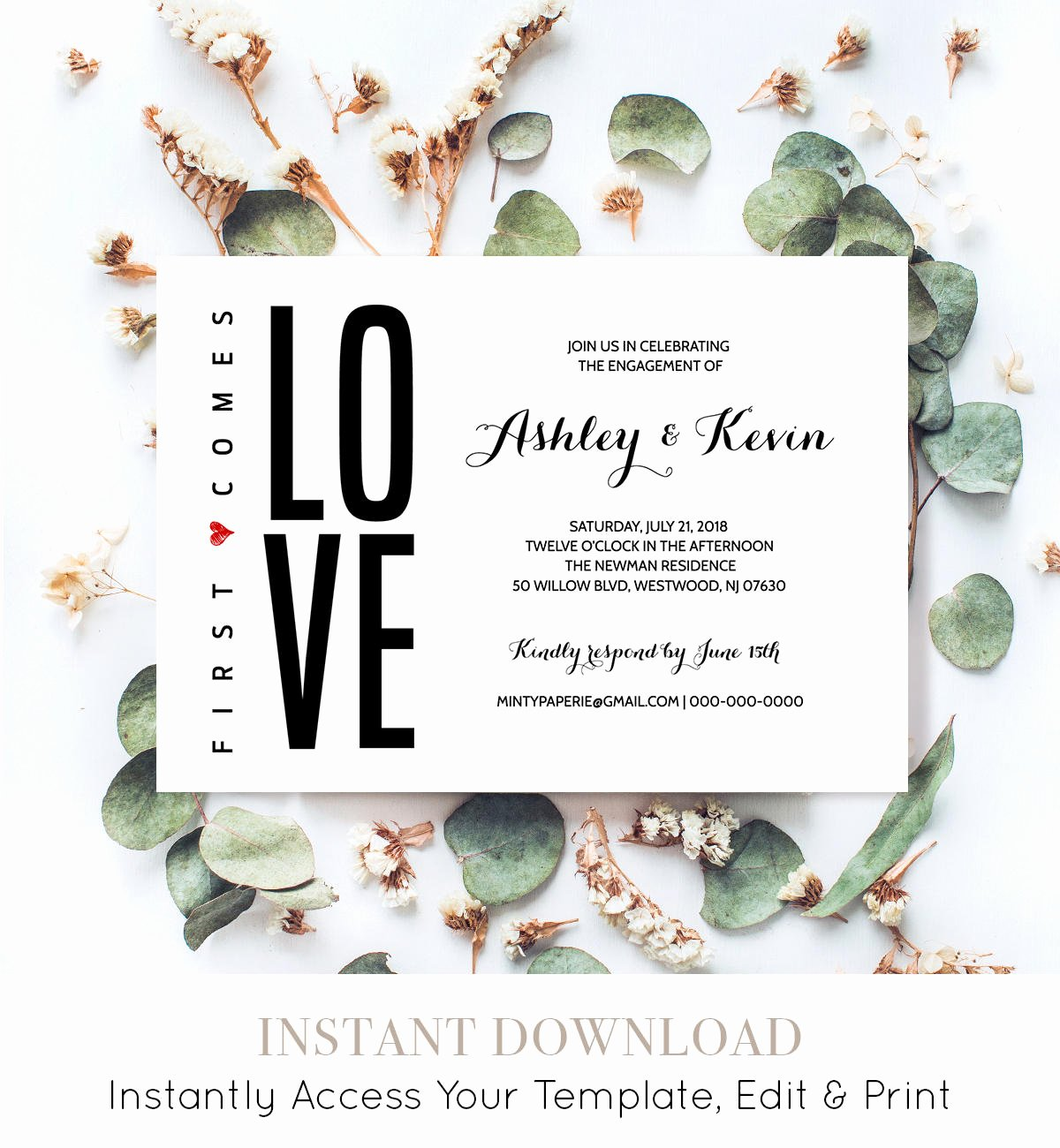 Free Printable Engagement Party Invitations Luxury Printable Engagement Party Invitation Template Modern