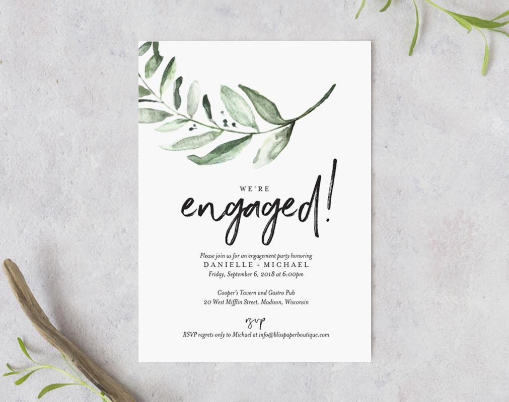 Free Printable Engagement Party Invitations Unique Greenery Engagement Party Invite Template From Bliss Paper Boutique