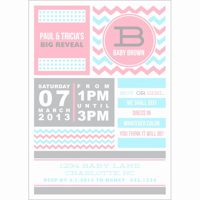 Free Printable Gender Reveal Invitations Lovely Chevron Gender Reveal Baby Shower Printable Invitation