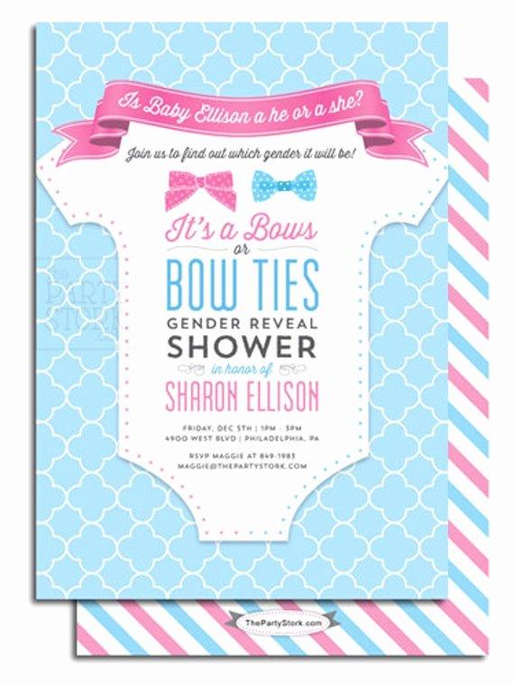 Free Printable Gender Reveal Invitations Unique Gender Reveal Party Invitation Printable Bows or Bowties