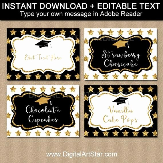 Free Printable Graduation Name Cards Best Of Elegant Graduation Candy Buffet Labels Graduation Food Labels Graduation Place Cards Editable