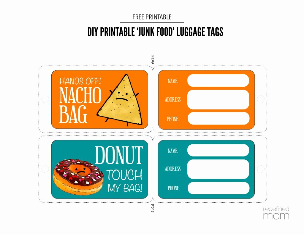 Free Printable Luggage Tags Best Of Diy Printable Junk Food Luggage Tags