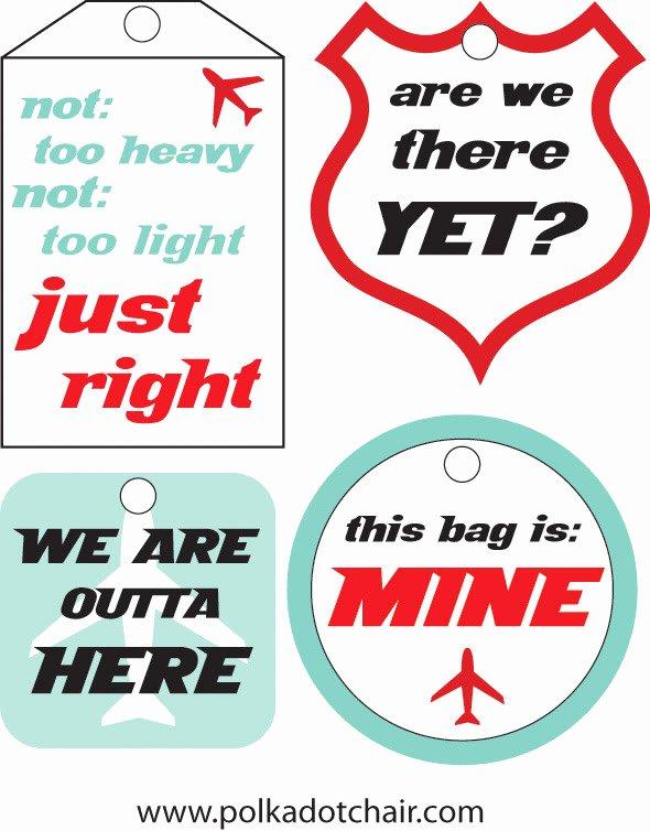 Free Printable Luggage Tags Lovely Free Luggage Tag Printable the Polkadot Chair