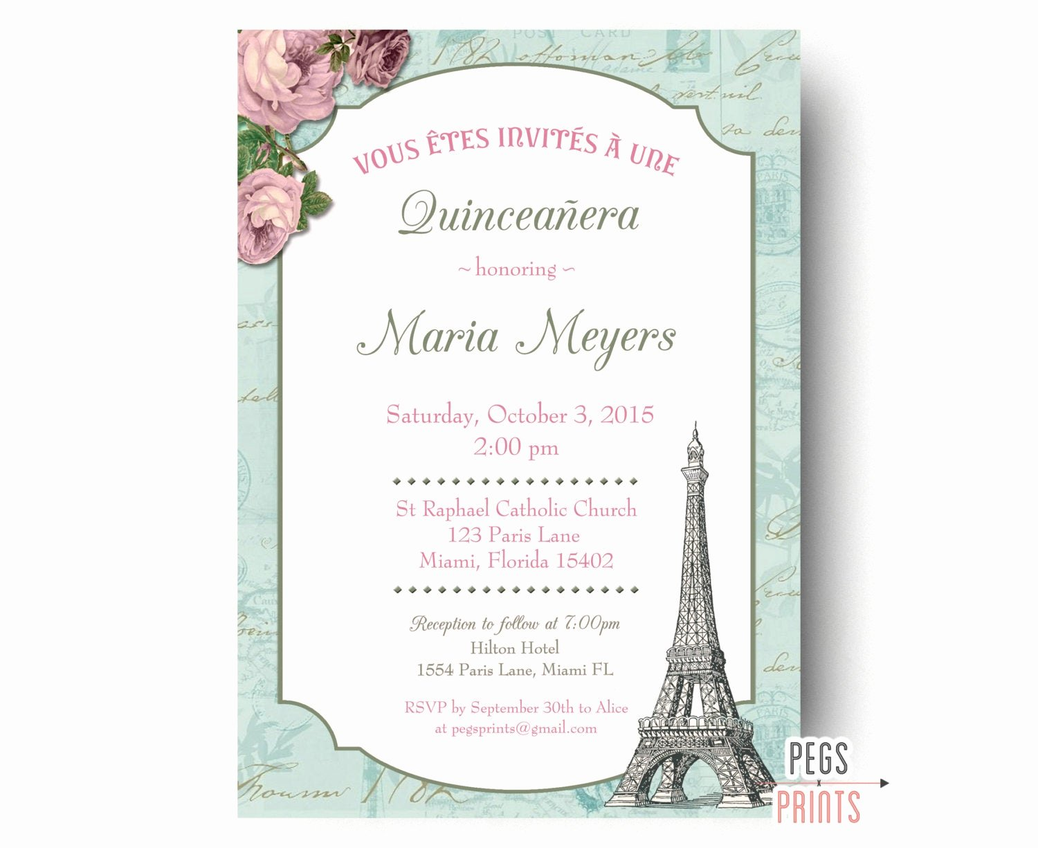 Free Printable Quinceanera Invitations Best Of Shabby Chic Quinceanera Invitation Printable Paris