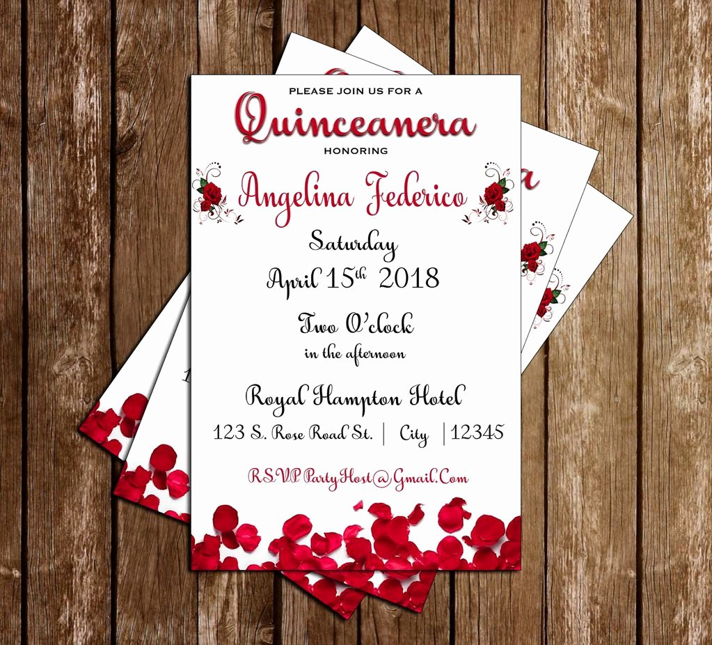 Free Printable Quinceanera Invitations Elegant Novel Concept Designs Red Roses Quinceanera Quinceañera 15th Birthday Invitation