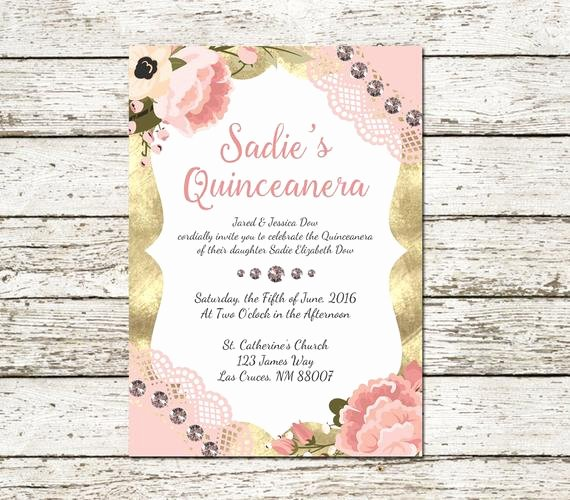 Free Printable Quinceanera Invitations Elegant Quinceanera Invitation Printable Peach and by Sweetteaandacactus