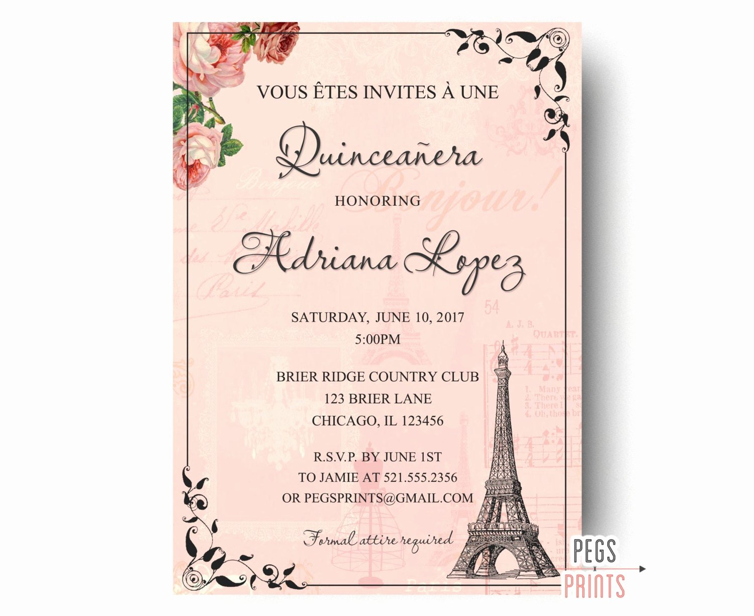 Free Printable Quinceanera Invitations Lovely Paris Quinceanera Invitation Quinceanera Invitation