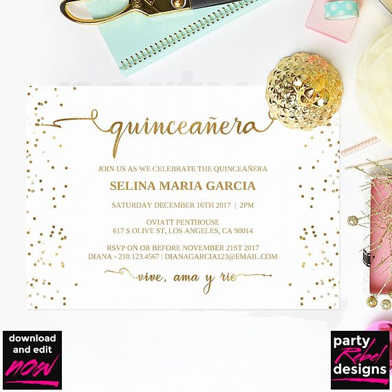 Free Printable Quinceanera Invitations Luxury Quinceañera Party Invitation Template Printable Quinceañera