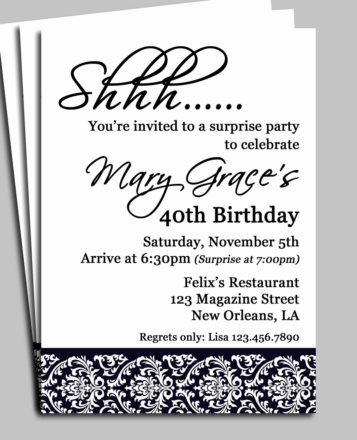 Free Printable Surprise Birthday Invitations Inspirational Black Damask Surprise Party Invitation Printable or Printed