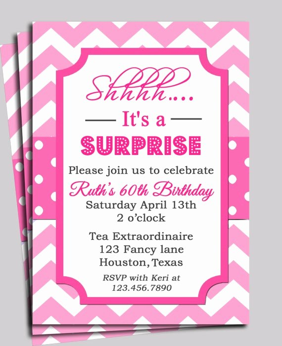 Free Printable Surprise Birthday Invitations Lovely Chevron Invitation Printable or Free Shipping You Pick