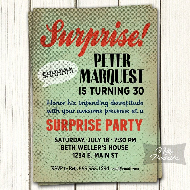 Free Printable Surprise Birthday Invitations Luxury Surprise Birthday Invitation Printable Bday Surprise Party