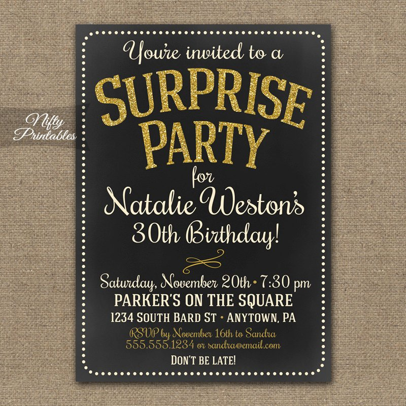 Free Printable Surprise Birthday Invitations Luxury Surprise Party Invitations Printable Chalkboard Surprise