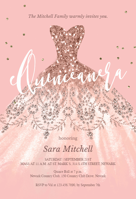 Free Quinceanera Invitation Templates Beautiful Glitter Dream Dress Quinceañera Invitation Template Free