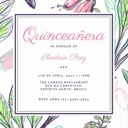 Free Quinceanera Invitation Templates Elegant Customize 43 Quinceanera Invitation Templates Online Canva