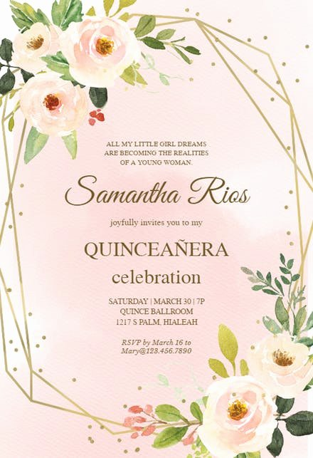 Free Quinceanera Invitation Templates Elegant Quinceañera Invitation Templates Free