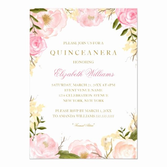 Free Quinceanera Invitation Templates Lovely Elegant Pink Rose Quinceanera Invitation