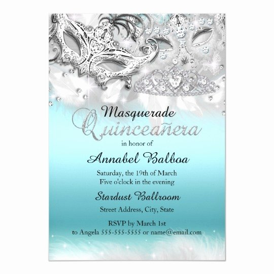 Free Quinceanera Invitation Templates New Teal Silver Sparkle Masquerade Quinceanera Invite