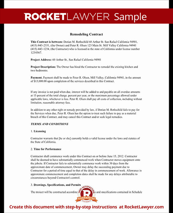 Free Remodeling Contract Template Inspirational Home Remodeling Contract form with Sample