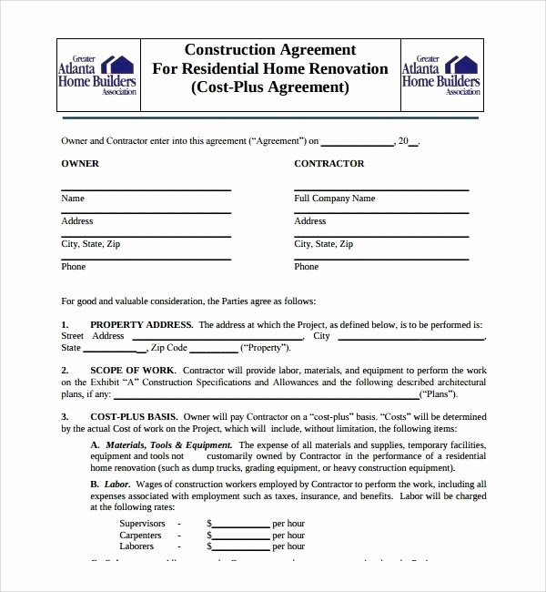 Free Residential Roofing Contract Template Best Of Residential Construction Contract Template Free – Mastertemplate