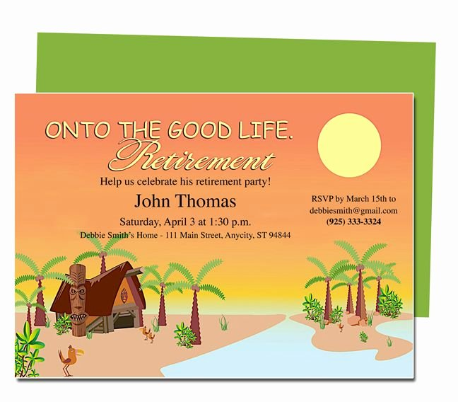 Free Retirement Flyer Templates Awesome Retirement Templates Tropicana to the Good Life Retirement Party Invitation Templates Diy