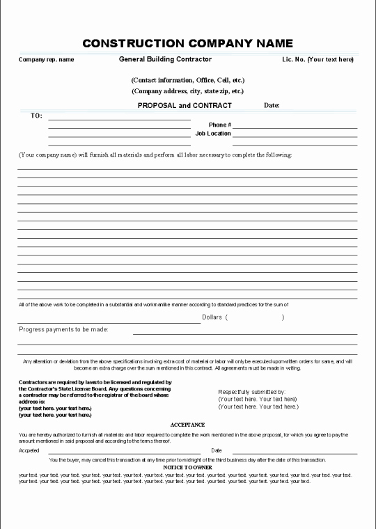 Free Roofing Contract Template Awesome Printable Sample Construction Contract Template form