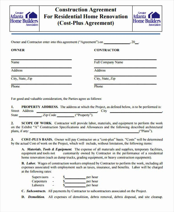 Free Roofing Contract Template Awesome Residential Construction Contract