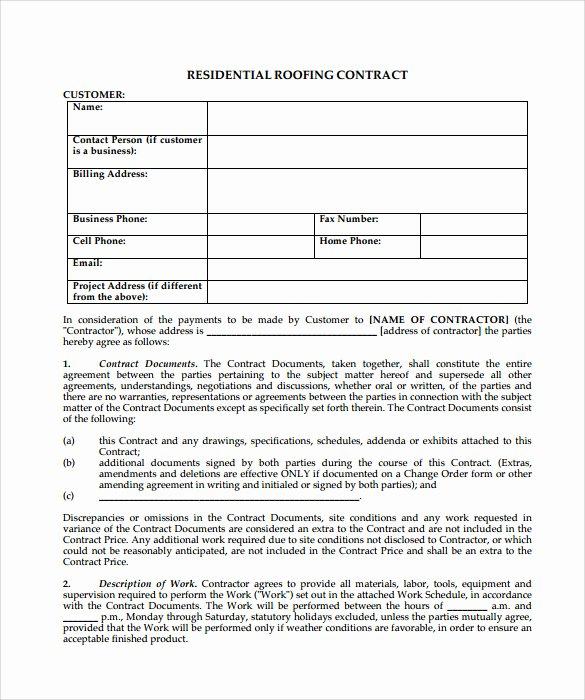 Free Roofing Contract Template Beautiful Roofing Contract Template 9 Download Documents In Pdf