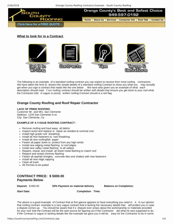 Free Roofing Contract Template Elegant Free 11 Roofing Contract Samples & Templates In Pdf